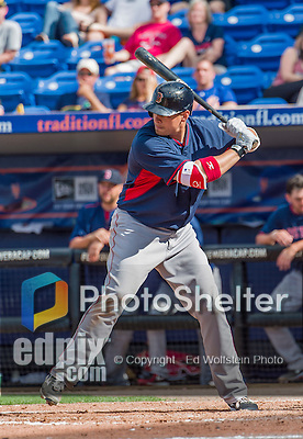8 March 2015: Boston Red Sox infielder Bryan LaHair in Spring Training action against the New York Mets at Tradition Field in Port St. Lucie, Florida. The Mets fell to the Red Sox 6-3 in Grapefruit League play. Mandatory Credit: Ed Wolfstein Photo *** RAW (NEF) Image File Available ***