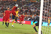 12th September 2017, Stadio Olimpic, Rome, Italy; UEFA Champions League between AS Roma versus Club Atletico de Madrid  Antoine Griezmann gets his header towards goal but is saved ; the game ended on a 0-0 draw