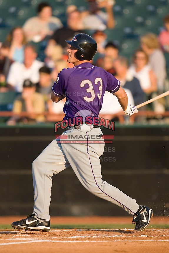 Stephen Head (33) of the Akron Aeros follows through on his swing at Prince Georges Stadium in Bowie, MD, Tuesday June 17, 2008.