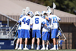 08 February 2015: Duke's starters huddle before the game. The Duke University Blue Devils hosted the United States Air Force Academy Falcons at Koskinen Stadium in Durham, North Carolina in a 2015 NCAA Division I Men's Lacrosse match. Duke won the game 13-7.