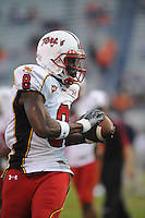 04 October 2008:  Maryland WR Darrius Heyward-Bey (8) catches a pass.  The Virginia Cavaliers defeated the Maryland Terrapins 31-0 October 04, 2008 at Scott Stadium in Charlottesville, VA..
