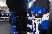 A general view of Jonathan Joseph's jersey hung up in the Bath Rugby changing rooms. Aviva Premiership match, between Bath Rugby and Saracens on September 9, 2017 at the Recreation Ground in Bath, England. Photo by: Patrick Khachfe / Onside Images