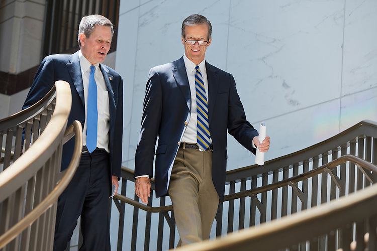 UNITED STATES - MAY 14: Sens. John Thune, R-S.D., right, and Steve Daines, R-Mont., arrive for news conference in the Capitol Visitor Center with agriculture leaders to urge passage of the trade promotion authority legislation, May 14, 2015. (Photo By Tom Williams/CQ Roll Call)