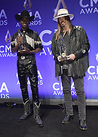 NASHVILLE, TN - NOVEMBER 13:  Lil Nas X and Billy Ray Cyrus in the press room at the 53rd Annual CMA Awards at the Bridgestone Arena on November 13, 2019 in Nashville, Tennessee. (Photo by Scott Kirkland/PictureGroup)
