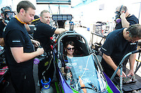 Jun. 29, 2012; Joliet, IL, USA: NHRA crew members for top fuel dragster driver Hillary Will during qualifying for the Route 66 Nationals at Route 66 Raceway. Mandatory Credit: Mark J. Rebilas-