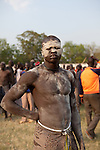 Sunday 5 december 2010 - Juba, Southern Sudan - A Dinka wrestler before the match. Traditional wrestling matches in Juba Stadium between Dinka wrestlers from Yirol East of Lake State and Mundari wrestlers from Terekeka County of Central Equatoria State. The matches attracted large numbers of spectators who sang, played drums and danced in support of their favorite wrestlers. The match organizers hoped that the sport would bring together South Sudan's many different tribes. Photo credit: Benedicte Desrus