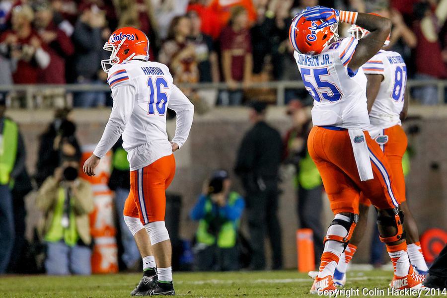 TALLAHASSEE, FL 11/29/14 FSU-UF112914- University of Florida kicker Austin Hardin, left, and Roderick Johnson react after Hardin missed a 42- yard field goal attempt during fourth quarter action Saturday at Doak Campbell Stadium in Tallahassee. The Seminoles beat the Gators 24-19.<br /> COLIN HACKLEY PHOTO