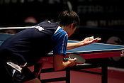 February 11, 2012. Cary, NC.. Timothy Wang prepares to serve in his first game of the day versus Barney Reed.. The US Olympic Table Tennis Trials were held Feb. 10-12 at Bond Park in Cary. Winners front he trials will return in April to compete in the continental trials with Canada to set the teams for the London Olympics this summer.