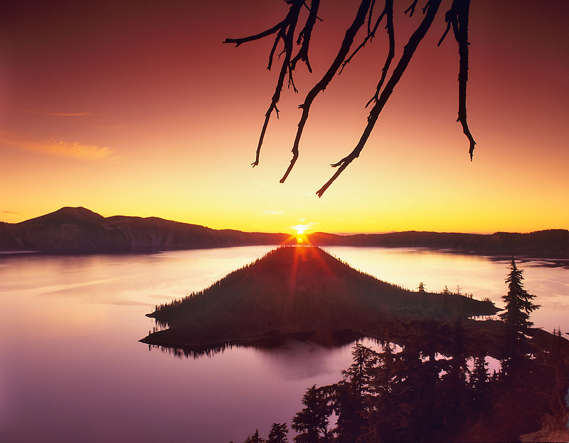 Crater Lake and Wizard Island at sunrise. Oregon.