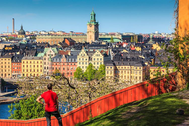 Man blickar över Gamla stan från Ivar Los park vid Monteliusvägen på Mariaberget på Södermalm  i Stockholm