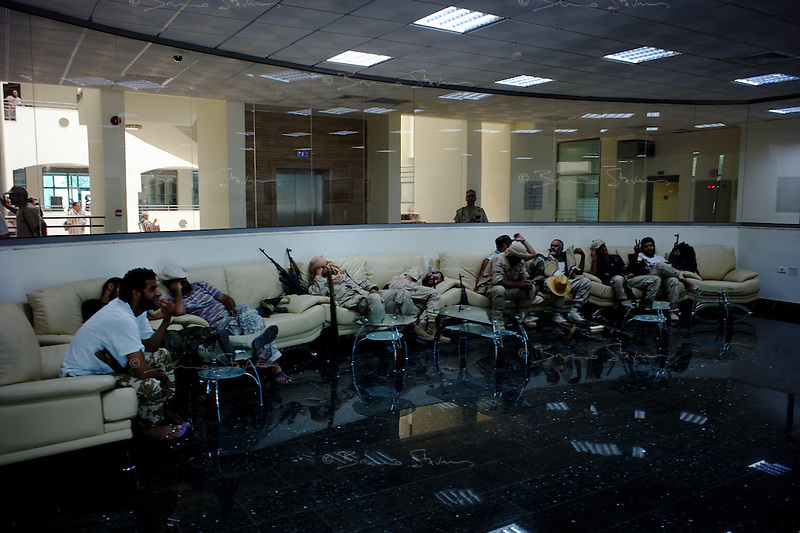 Tripoli, Libya, August 25, 2011.Elite rebel troops during a press conference of the NTC leadership inside the National Oil Company buiding.