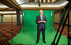 Sept 12, 2014; Governor Mike Pence during  a video taping at a luncheon at the Indiana Convention Center in Indianapolis, IN. (Photo by Barbara Johnston/University of Notre Dame)
