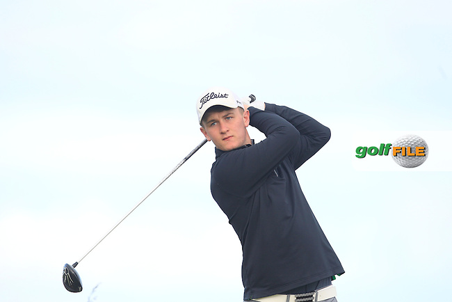 Dale Jackson (Massereene) on the 4th tee during Round 1 Matchplay of the North of Ireland Amateur Open Championship at Royal Portrush, Dunluce Course on Wednesday 15th July 2015.<br /> Picture:  Golffile | Thos Caffrey