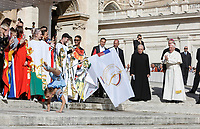 A young circus artists performs at the end of the weekly general audience held by Pope Francis, seen at right as he applauds, in St. Peter's Square at the Vatican City, October 16, 2019. UPDATE IMAGES PRESS/Riccardo De Luca<br /> <br /> STRICTLY ONLY FOR EDITORIAL USE