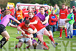 Munster's Ronan O'Mahony and Danny Barnes in action in the British and .Irish Cup at O'Dowd park, Tralee on Saturday.