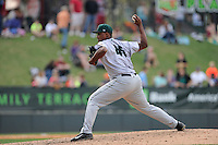 Relief pitcher Raymundo Montero (45) of the Augusta GreenJackets delivers a pitch in a game against the Greenville Drive on Sunday, April 12, 2015, at Fluor Field at the West End in Greenville, South Carolina. Augusta won, 2-1. (Tom Priddy/Four Seam Images)