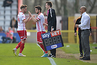 Matthew Godden of Stevenage and John Goddard of Stevenage during Stevenage vs Cambridge United, Sky Bet EFL League 2 Football at the Lamex Stadium on 14th April 2018