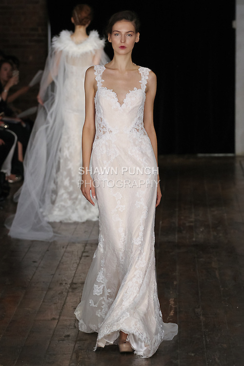 """Model walks runway in an """"Affection"""" bridal gown from the Alyne by Rita Vinieris Fall 2017 collection on October 7th, 2016 during New York Bridal Fashion Week."""