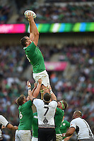 Devin Toner of Ireland wins the ball at a lineout. Rugby World Cup Pool D match between Ireland and Romania on September 27, 2015 at Wembley Stadium in London, England. Photo by: Patrick Khachfe / Onside Images