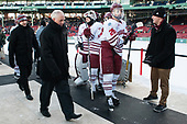 Jared DeMichiel (UMass - Assistant Coach), ?, Nic Renyard (UMass - 29), Joseph Widmar (UMass - 26) - The Boston University Terriers defeated the University of Massachusetts Minutemen 5-3 on Sunday, January 8, 2017, at Fenway Park in Boston, Massachusetts.The Boston University Terriers defeated the University of Massachusetts Minutemen 5-3 on Sunday, January 8, 2017, at Fenway Park.