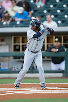 Michael Martinez (7) of the Columbus Clippers at bat against the Kannapolis Intimidators at BB&T BallPark on May 3, 2016 in Charlotte, North Carolina.  The Clippers defeated the Knights 8-3.  (Brian Westerholt/Four Seam Images)