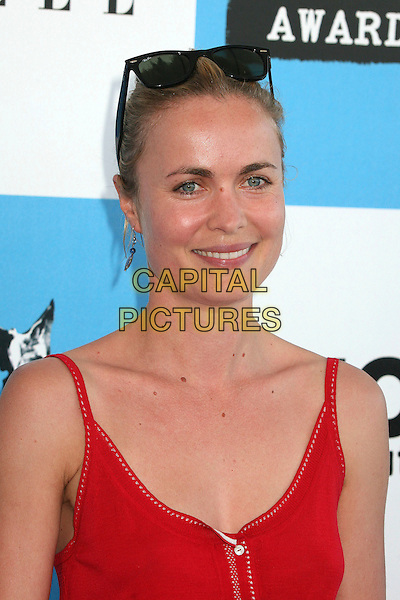 RADHA MITCHELL.2007 Film Independent's Spirit Awards at the Santa Monica Pier, Santa Monica, California, USA,.24 February 2007..portrait headshot sunglasses on head red top.CAP/ADM/BP.©Byron Purvis/AdMedia/Capital Pictures.