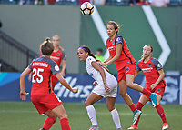 Portland, OR - Wednesday June 28, 2017: Emily Menges, Sydney Leroux during a regular season National Women's Soccer League (NWSL) match between the Portland Thorns FC and FC Kansas City at Providence Park.