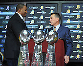 Ashburn, VA - March 3, 2009 -- Newly re-signed Washington Redskins guard Derrick Dockery, left, shakes hands with head coach Jim Zorn, right, after being introduced at a press conference at Redskins Park in Ashburn, Virginia on Tuesday, March 3, 2009..Credit: Ron Sachs / CNP