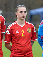 20150404 - FORST , GERMANY  : Belgian Jody Vangheluwe pictured during the soccer match between Women Under 19 teams of Belgium and Ukraine , on the first matchday in group 5 of the UEFA Elite Round Women Under 19 at WaldseeStadion , Forst , Germany . Saturday 4th April 2015 . PHOTO DAVID CATRY
