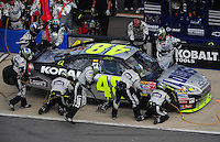 Oct 5, 2008; Talladega, AL, USA; NASCAR Sprint Cup Series driver Jimmie Johnson pits during the Amp Energy 500 at the Talladega Superspeedway. Mandatory Credit: Mark J. Rebilas-