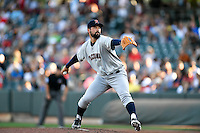 Tacoma Rainiers starting pitcher Zach Lee (25) delivers a pitch to the plate against the Salt Lake Bees in Pacific Coast League action at Smith's Ballpark on July 23, 2016 in Salt Lake City, Utah. The Rainiers defeated the Bees 4-1. (Stephen Smith/Four Seam Images)