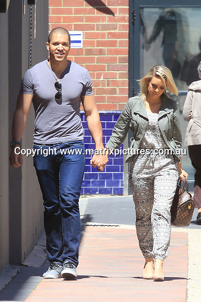6 OCTOBER 2015 PERTH WESTERN AUSTRALIA<br /> <br /> WWW.MATRIXPICTURES.COM.AU<br /> <br /> EXCLUSIVE PICTURES<br /> <br /> Blake Garvey and Louise Pillage pictured looking very happy and in love after meeting a friend for coffee in Subiaco. Blake was very much the gentleman carrying Louise's hand bag for her. The pair smiled and laughed as they made their way home.