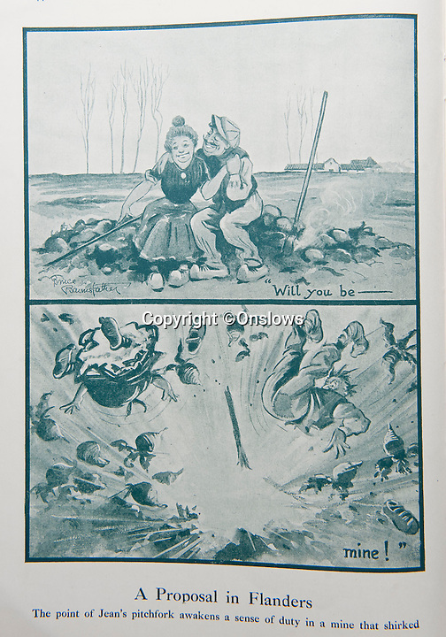BNPS.co.uk (01202 558833)<br /> Pic: Onslows/BNPS<br /> <br /> Rare cartoons reveal the rarely seen humourous side of life in the trenches during WW1.<br /> <br /> Cartoons which made light of the First World War in an attempt to boost the morale of troops have emerged for sale 100 years after the outbreak of fighting.<br /> <br /> The humorous sketches, which sent up the British high command and sympathised with squaddies, provided light relief to weary soldiers on the front line.<br /> <br /> They were the handiwork of Bruce Bairnsfather, a soldier who had been hospitalised during the Second Battle of Ypres in Belgium in 1915.<br /> <br /> Bairnsfather suffered shellshock and damaged hearing and was posted to Salisbury Plain to the headquarters of the 34th Division.<br /> <br /> While there he drew a series of cartoons about a curmudgeonly British Tommy called Old Bill, who sported a trademark walrus moustache and balaclava.<br /> <br /> Bairnsfather drew light-hearted cartoons for The Bystander magazine and went on to produce seven special editions throughout the war called Fragments from France.<br /> <br /> A rare, limited first edition of Bullets and Billets signed by Bairnsfather is tipped to fetch 400 pounds while the complete Fragments from France set is expected to sell for 150 pounds at a sale at Onslows auction house in Blandford, Dorset.<br /> <br /> The are being sold by a collector of World War I memorabilia from Dorset.