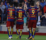 23.04.2016 Barcelona. Liga BBVA day 35. Picture show Neymar, Messi, and Suarez after score during game between FC Barcelona against Real Sporting at Camp nou