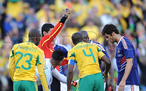 22 06 2010 Referee Oscar Ruiz of Colombia Shows The Red Card to France's Yoann Gourcuff during A Group A Match between France and South Africa AT The 2010 World Cup Football Match in Bloemfontein South Africa ON June 22 2010