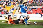 St Johnstone v Dundee United...19.04.14    SPFL<br /> Stevie May scores to make it 2-0<br /> Picture by Graeme Hart.<br /> Copyright Perthshire Picture Agency<br /> Tel: 01738 623350  Mobile: 07990 594431