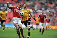 The scorer of Newport County's first goal Christian Jolley in action during the Newport County v Wrexham Blue Sq. Bet Premier league playoff final at Wembley Stadium, London, England Sunday 5th May 2013. Credit for pictures to Jeff Thomas Photography - www.jaypics.photoshelter.com - 07837 386244 - Use of images are restricted without prior permission of the copyright owner Jeff Thomas Photography.