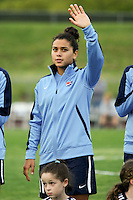 Piscataway, NJ, May 7, 2016. Raquel Rodriguez (11) of Sky Blue FC during player introductions prior to their game with the Western New York Flash.  The Western New York Flash defeated Sky Blue FC, 2-1, in a National Women's Soccer League (NWSL) match at Yurcak Field.