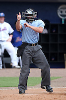 Home plate umpire Nick Mahrley during a game between the Charlotte Stone Crabs and St. Lucie Mets at Digital Domain Park on June 21, 2011 in Port St Lucie, Florida.  St. Lucie defeated Charlotte 9-0.  (Mike Janes/Four Seam Images)