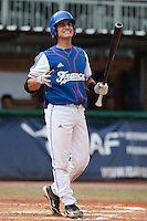 30 july 2010: Maxime Lefevre of France looks dejected during Italy 9-2 win over France, in day 6 of the 2010 European Championship Seniors, at TV Cannstatt ballpark, in Stuttgart, Germany.