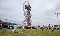 General view as CHET JOHNSON (MTV'S EX ON THE BEACH) scores from the penalty spot during the SOCCER SIX Celebrity Football Event at the Queen Elizabeth Olympic Park, London, England on 26 March 2016. Photo by Andy Rowland.