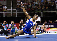 John Orozco of Hilton HHonors competes on the floor during the 2012 US Olympic Trials competition at HP Pavilion in San Jose, California on June 28th, 2012.
