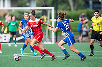 Boston, MA - Saturday July 01, 2017: Havana Solaun and Angela Salem during a regular season National Women's Soccer League (NWSL) match between the Boston Breakers and the Washington Spirit at Jordan Field.