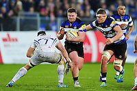 Nick Auterac of Bath Rugby takes on the Exeter Chiefs defence. Aviva Premiership match, between Bath Rugby and Exeter Chiefs on December 31, 2016 at the Recreation Ground in Bath, England. Photo by: Patrick Khachfe / Onside Images