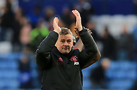 Manchester United Interim Manager Ole Gunnar Solskjaer applauds the fans after the Premier League match between Leicester City and Manchester United at King Power Stadium on February 3rd 2019 in Leicester, England. (Photo by Leila Coker/phcimages.com)<br /> Foto PHC Images / Insidefoto <br /> ITALY ONLY