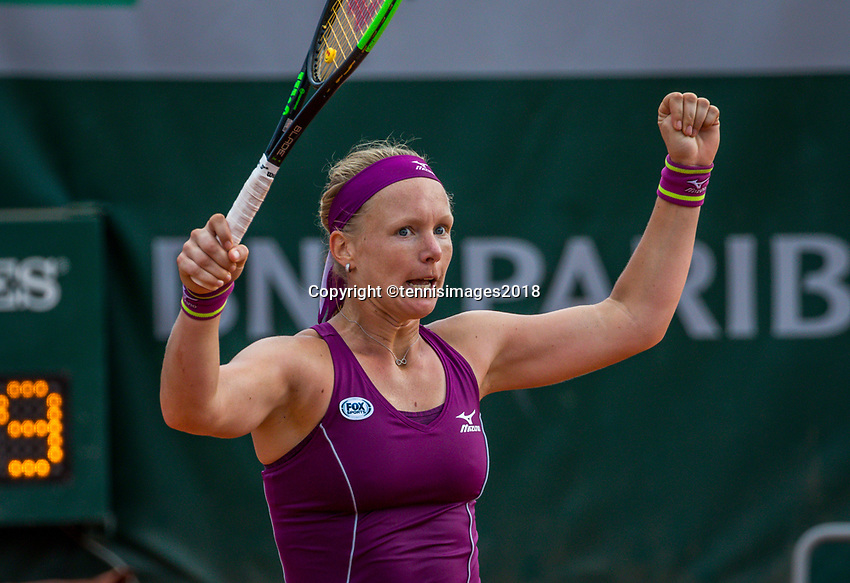 Paris, France, 29 May, 2018, Tennis, French Open, Roland Garros, Kiki Bertens (NED) celebrates her win<br /> Photo: Henk Koster/tennisimages.com