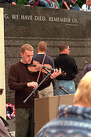 Violinist age 20 performing at Vietnam Wall Memorial Day Service. St Paul Minnesota USA