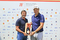 Sir Rocco Forte and Simon Khan (ENG) during the final round of the Rocco Forte Sicilian Open played at Verdura Resort, Agrigento, Sicily, Italy 13/05/2018.<br /> Picture: Golffile | Phil Inglis<br /> <br /> <br /> All photo usage must carry mandatory copyright credit (&copy; Golffile | Phil Inglis)