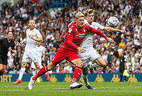 Leeds United's Patrick Bamford battles with Nottingham Forest's Joe Worrall<br /> <br /> Photographer Alex Dodd/CameraSport<br /> <br /> The EFL Sky Bet Championship - Leeds United v Nottingham Forest - Saturday 10th August 2019 - Elland Road - Leeds<br /> <br /> World Copyright © 2019 CameraSport. All rights reserved. 43 Linden Ave. Countesthorpe. Leicester. England. LE8 5PG - Tel: +44 (0) 116 277 4147 - admin@camerasport.com - www.camerasport.com