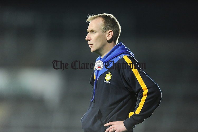 Clare mentor David O Shea on the sideline against Tipperary during their U-17 Munster League final in The Gaelic Grounds. Photograph by John Kelly.
